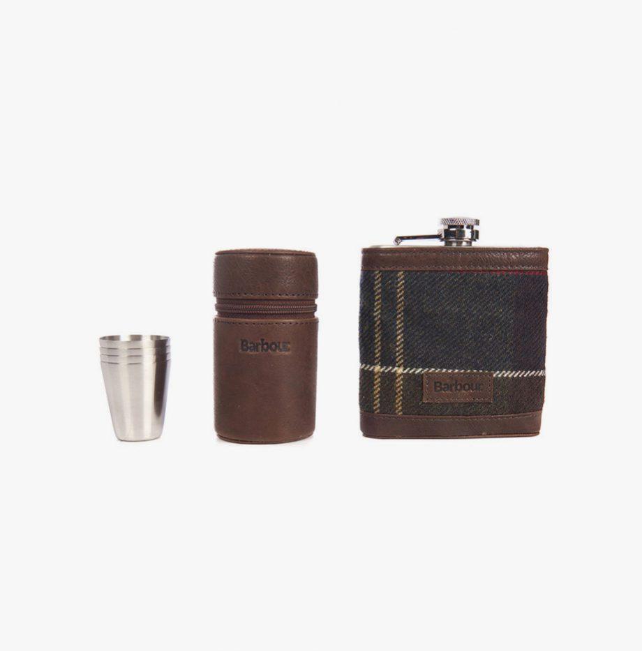 Kit Barbour Tartan Hip Flask and Cups