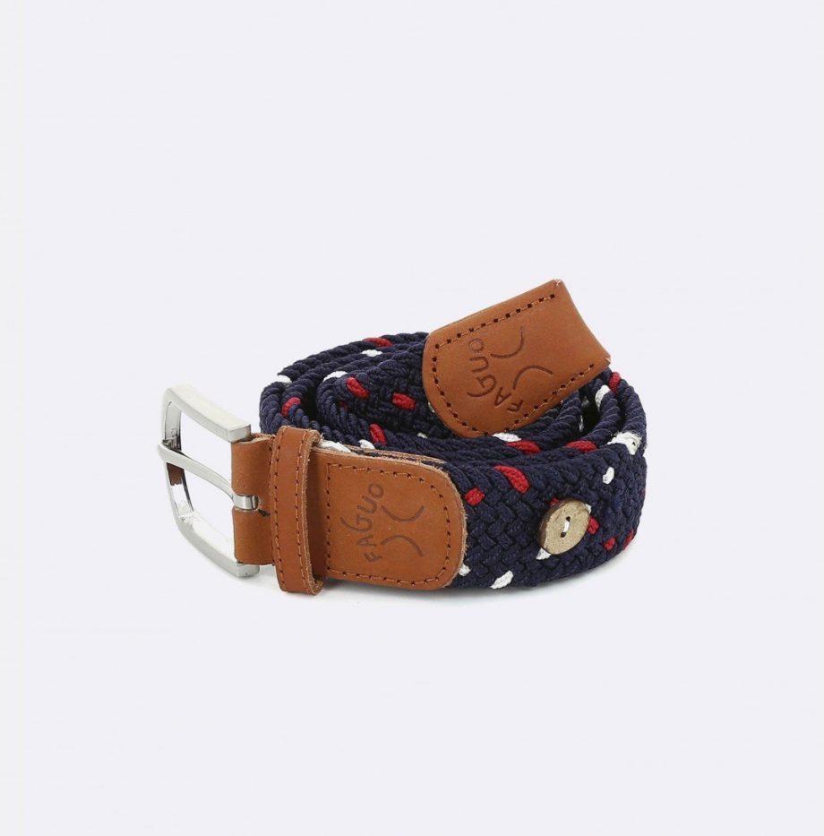 ceinture-tressee-en-polyester-belt-marine-rouge-carmin-blanc