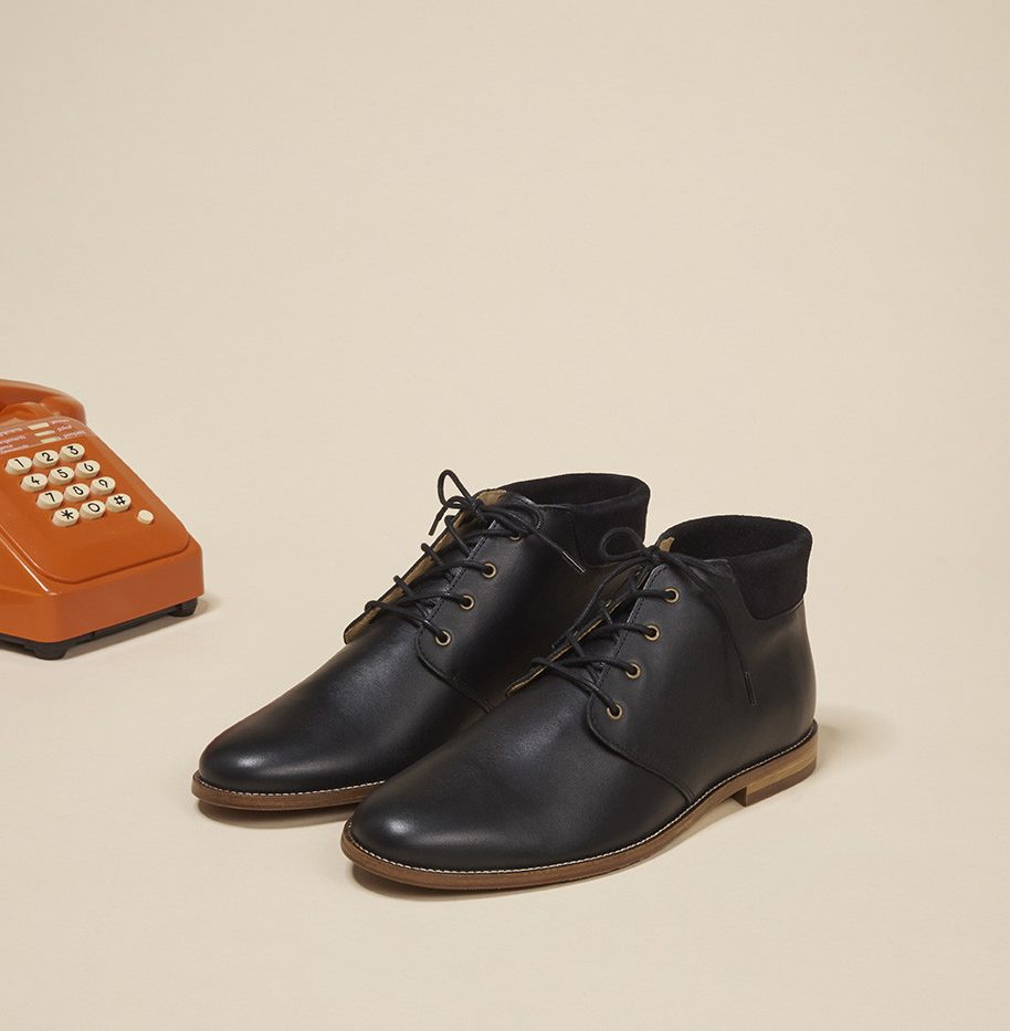 Desert Boots Gaultier Monsieur Moustache Cuir noir et suède