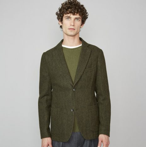 Veste Lightest Officine Générale Laine Italienne  Chevrons Olive