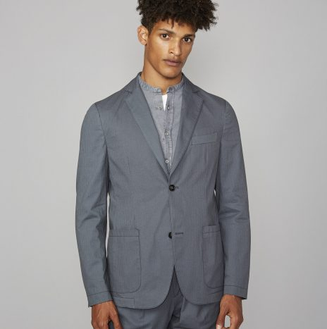 Veste Lightest Officine Générale Seersucker Bleu Denim