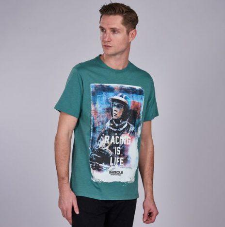 Tee-Shirt Barbour Steve McQueen Racing is Life Dusty Teal