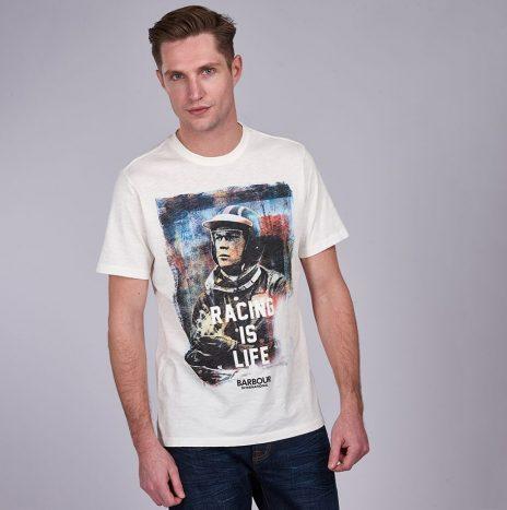 Tee-Shirt Barbour Steve McQueen Racing is Life Whisper White