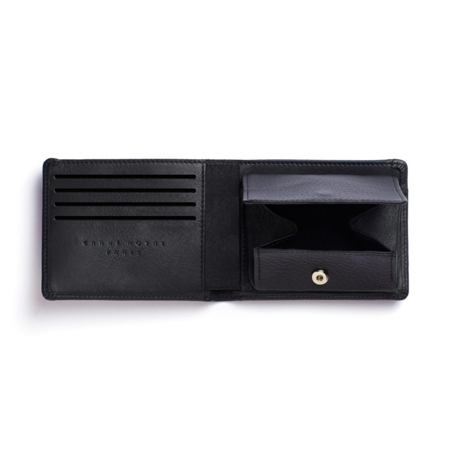 la901-noir-black-minimalist-wallet-with-coin-pocket-open-1-scaled