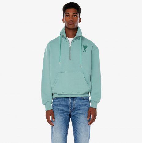 Sweatshirt Zippe Ami de Coeur Vert d'Eau