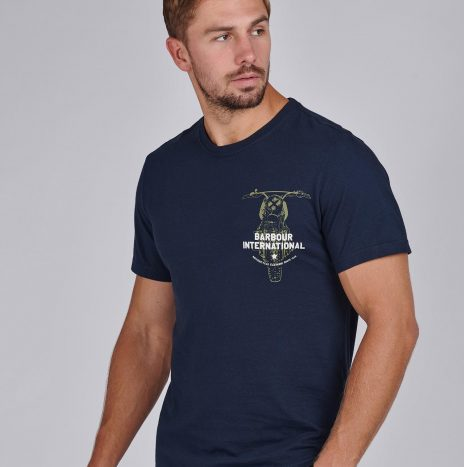 Tee-Shirt Bike Print Barbour Navy