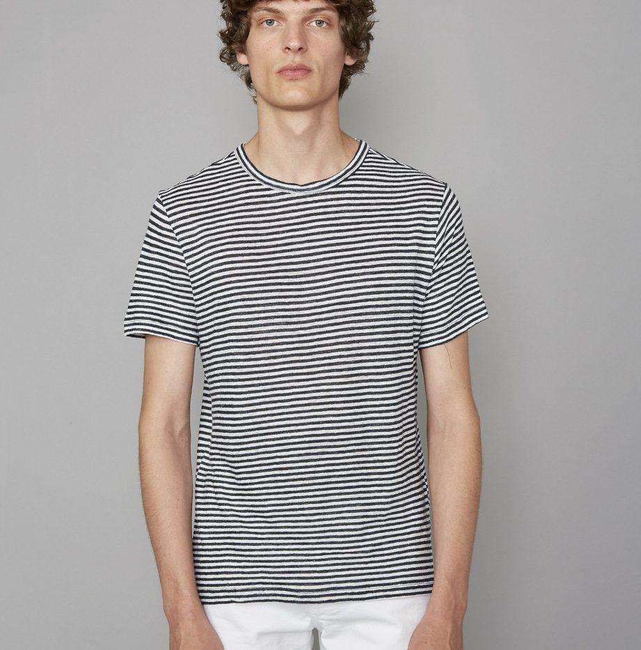 Tee-Shirt_Lin_Rayé_Officine_Générale_Black:White_