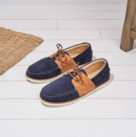 Chaussures Marin Bateau Monsieur Moustache Marine et Cognac