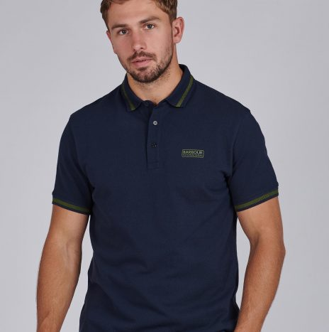 Grid Tipped Polo Barbour International Navy