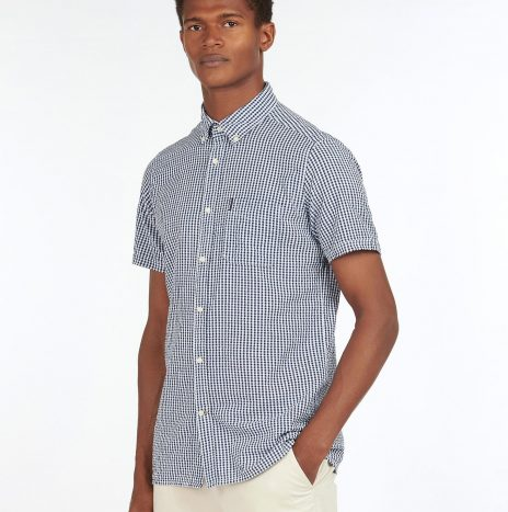 Seersucker 8 Chemise Manches Courtes Barbour Inky Blue