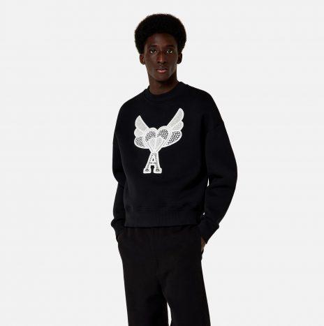 Sweatshirt Ami de Coeur Dentelle Noir