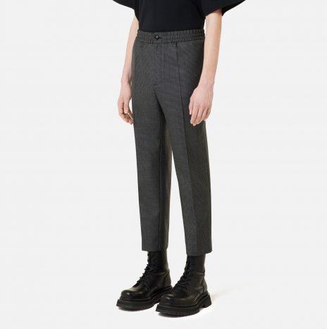 Pantalon Cropped Taille Elastique Ami Pied de Poule Gris / Noir