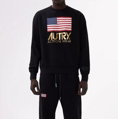 Sweat Autry Col Rond Logo Flags Noir